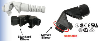 Swivel Elbow Strain Relief Fitting